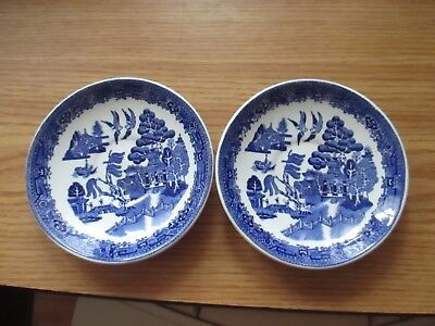 Blue Willow Saucers, Wood & Sons, Albert Pick Co. Set of Two