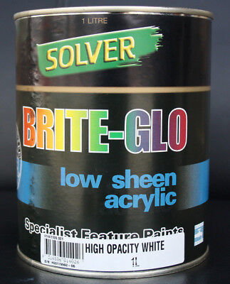 SOLVER BRITE-GLO Low Sheen Acrylic HIGH OPACITY WHITE 1L