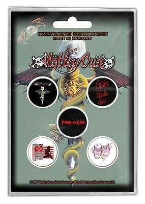 Motley Crue Dr Feelgod 6 Button Badge Set Official Metal Badges New