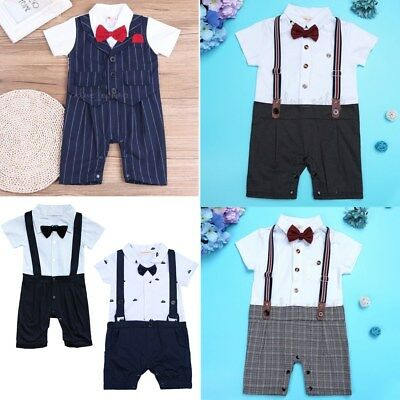 Baby Boy Formal Romper  Party Tuxedo Wedding Christening Jumpsuit Outfit Clothes
