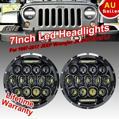 "Pair 7"" inch LED PHILIPS Headlight Hi Lo Beam DRL for Jeep Wrangler JK LJ CJ"