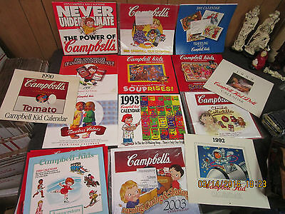 big lot 13 collectible vintage Campbell's Soup Advertising Calendars 1989-2003