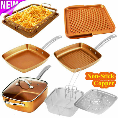 Gotham Steel Copper Crisper Tray Flat Pan Double Side Griddle Fry Non Stick TO