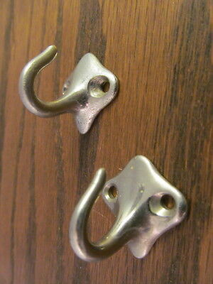 2 Small Hooks Nickel Over Brass Towel Hangers Antique Vintage Bathroom Kitchen