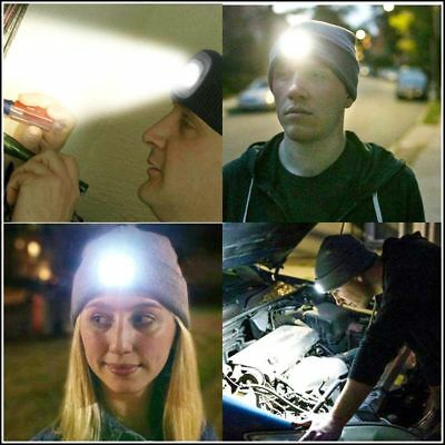 New 4 LED Head Lamp Knit Beanie Hat Light Cap Cycling Camping Fishing Outdoor