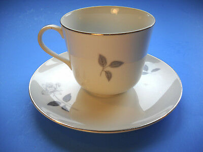Queens Royal Fine China Gray Rose CUP AND SAUCER Japan
