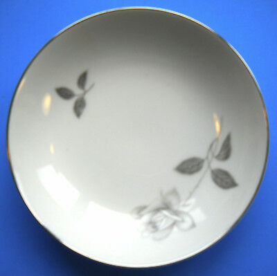 """Queens Royal Fine China Gray Rose 7 1/2"""" SOUP BOWL Japan"""
