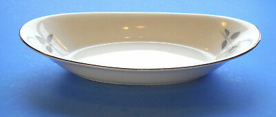 """Queens Royal Fine China Gray Rose 8 1/4"""" OVAL RELISH TRAY BOWL Japan"""