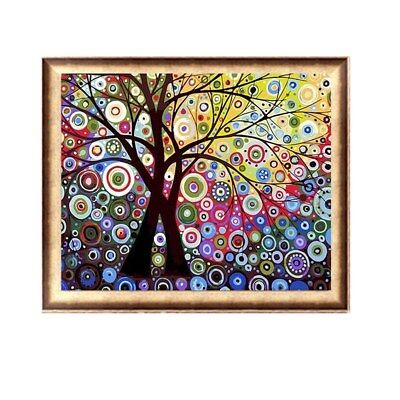 Colourful Sun Tree Framed/Unframed Canvas DIY Painting Paint by Number Kit Decor