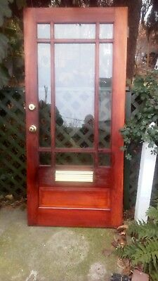 """Solid Wood & Glass Entry Door w/Mail slot & 9 Framed in Windows 34"""" W x 74 1/4""""H"""