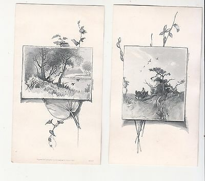 Lot of 2 Black & White Lithos Horse Cart Lake No Advertising Vict Cards c 1880s