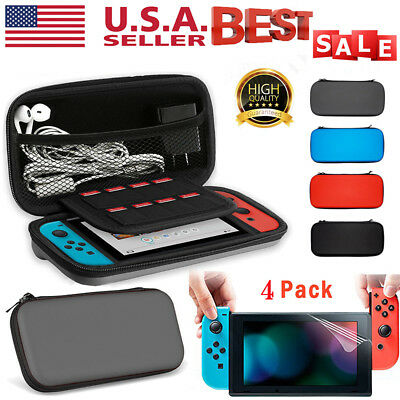 For Nintendo Switch Travel Carrying Case Bag+4PCS Clear Screen Protector Film US