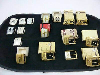 17 Vtg Initial Belt Buckles - Hickok - Silver Plated - Brass - NOS/Pre-owned mix