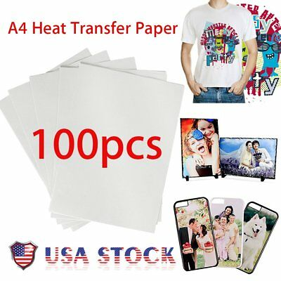 100 Sheet T-Shirt Inkjet Iron-On Heat Transfer Paper, For Light Fabric,A4 TO