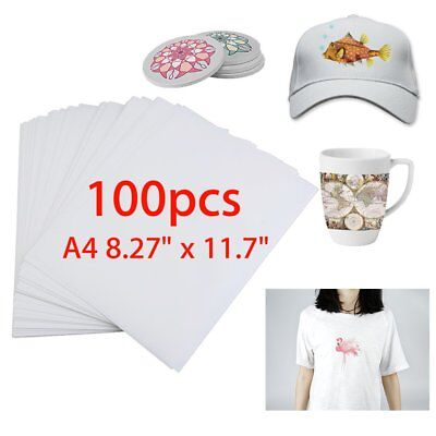 100 Sheets A4 Dye Sublimation Heat Transfer Paper for Polyester Cotton T-Shirt T