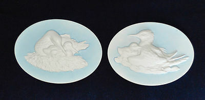 Vintage Jasperware Oval Plaques of Wild Birds by Lugal Portugese