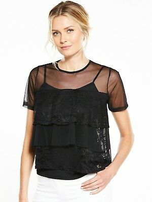 V by Very Mesh Frill Lace Tiered Top Size 16 BNWT RRP £28 Black Uk Freepost