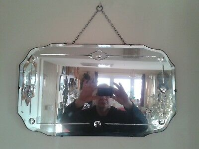 Stunning Convex Circled Geometric Beveled Edge 1930's Art Deco Wall Mirror