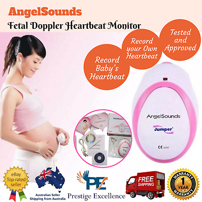 AngelSounds Fetal Doppler Heartbeat Monitor with Recording Cable and Gel