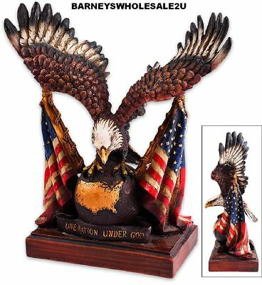 """Patriotic Eagle With US Flag Statue • 9 1/2""""x10 1/2""""-Very Nice-FREE SHIPPING"""