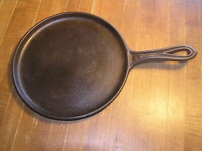 "Antique late 1800's  #7 Cast Iron Skillet Griddle 9"" with Heat Ring, Cleaned."