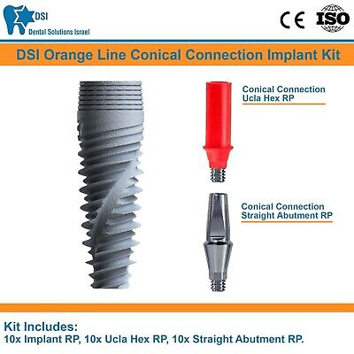10x DSI Dental Implant Conical Connection Nobel Active + Abutment + Ucla RP CE