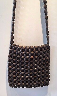 Vintage Dark Brown Wood Beaded ShoulderStrap Purse Hand BagThe Sak VGC