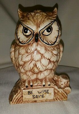 """Vintage Ceramic Owl Coin Bank ~  6-1/4"""" Tall~ Be Wise Save ~"""