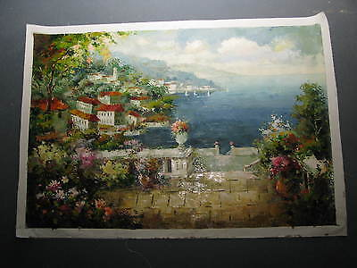 Oil on Canvas  beautiful scene of an village on the ocean 36 x 24