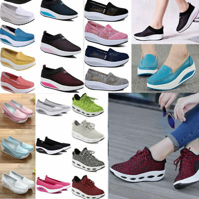 Women Toning Fitness Lace Up Sneakers Shape Up Platform Walking Sport Shoes New