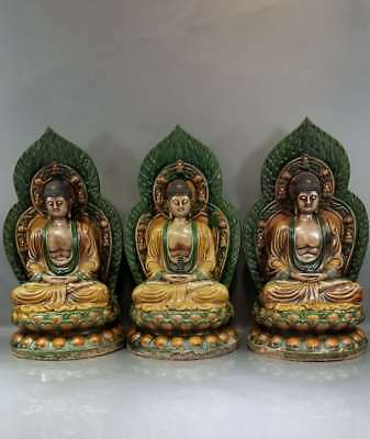 A Fine Collection of Chinese 14thC Ming Sancai Ware Pottery Statue Buddha
