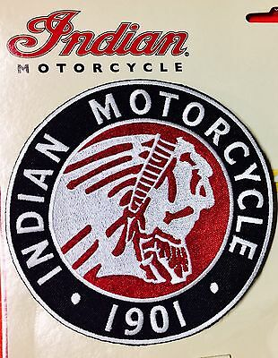 "Indian Motorcycle Large Chief Icon Patch ~ 5"" Dia ~ Iron/sew Pristine!"