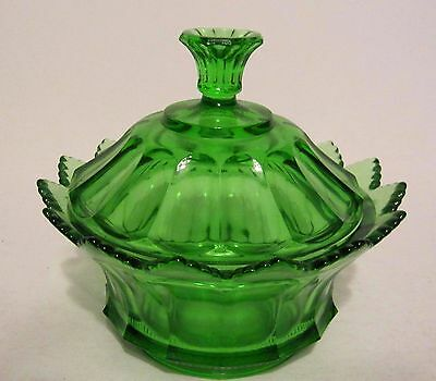 Gorgeous FENTON Green Glass Covered Candy Dish Scalloped Rim
