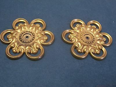 Back Plates for A Knob Cabinets Dressers Drawers Vintage 2 Burnished Gold Finis