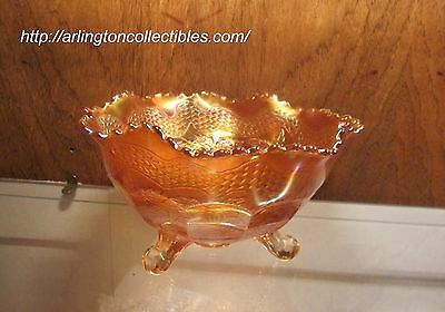 """FENTON ca 1915 Two Flowers Ruffled Crimped Ball Foot Marigold Carnival Bowl  5""""T"""