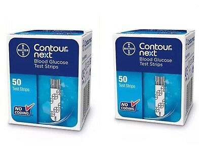 Bayer Contour Next Blood Glucose 50 Test Strips ( Buy 1 Get 1 Free ) New Sealed