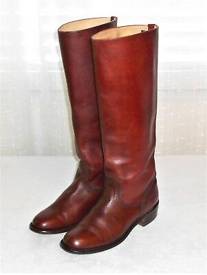 Frye Vintage Brown Leather Tall Riding Equestrian Boot Made in USA Women's 7.5 B
