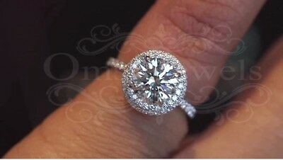 2.20Ct Round Gorgeous Moissanite Double Halo Engagement Ring 14K White Real Gold