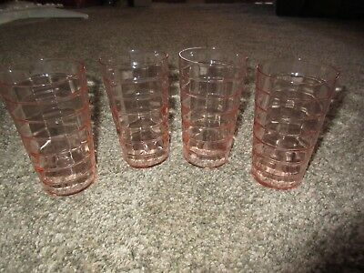 (4) Pink Block Optic Tumblers - Anchor Hocking - Depression Glass