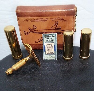 Vintage Gillette Razor Deluxe Travel Shaving Kit with Leather Carrying Case