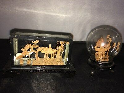 2 - Vintage Miniature Chinese Cork Carved Sculptures Encased