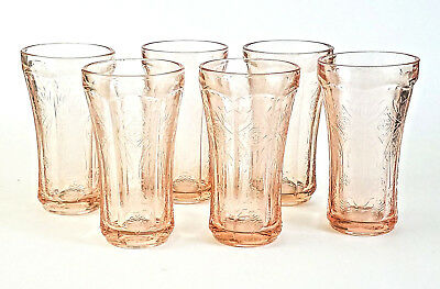 6 Pale Pink Tumblers Cups Depression Indiana Glass RECOLLECTION Vintage