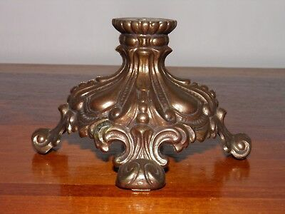 "Vintage,  cast metal, ornate, embossed footed table  lamp base.Part  4 1/8"" D"