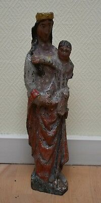 MEDIAVAL SCULTPURE OAK MADONNA WITH CHILD  FLEMISH c. 1500 AD #B664S