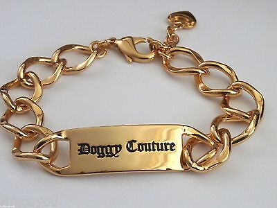 New Authentic Juicy Couture Doggie Couture Id Gold Dog Collar Doggie Couture