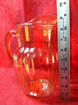 Vintage Pinkish Amber Vertical Rib 1/2 Gal Pitcher w Ice Spout Excellent