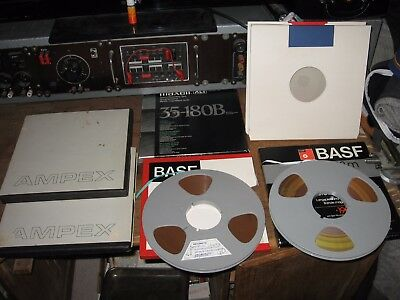 2x 26,5 cm Tonband Tape BASF SPR 50 LH 2x Ampex 2x 1x Maxell BASF Schuber Cover