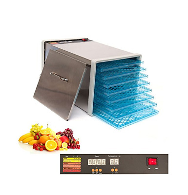 8 Tray Food Dehydrator Jerky Fruit Vegetable Dryer Blower with Door and Timer
