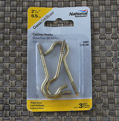 "National 2-9/16"" SOLID Bright Brass Ceiling Hooks - N192-286 - V2041 - 2Pks"