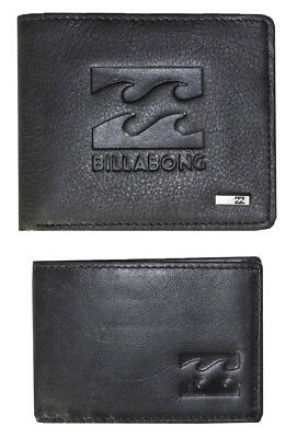 "Brand New In Box Billabong Mens ""wave"" Black Leather Wallet Two In One Trifold"